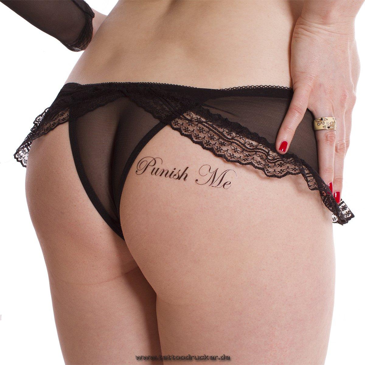 1 x Punish Me/Fuck Me Tattoo Schriftzug in schwarz - Sexy Kinky Tattoo (1x) Tattoodrucker PunishFuckMe1