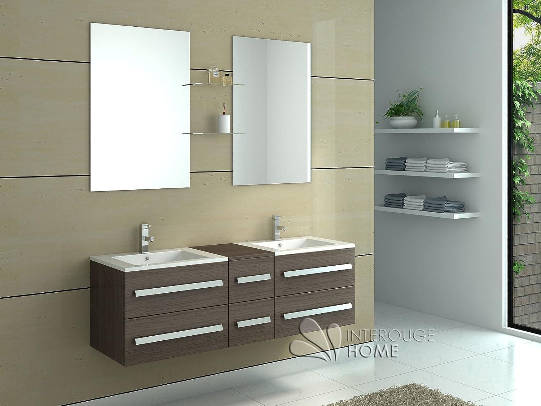 InterougeHome-Badmöbel Set Badezimmer aus Holz mit 2 Schalen Farbe Espresso-Wandspiegel mit 2 Seitliche Ablagefächer-Handwaschbecken-Unterschrank-Waschbecken-Unterschrank, 2 mittlere, 2 Abflusslöcher und 4 Aufsätzen flexible gratis