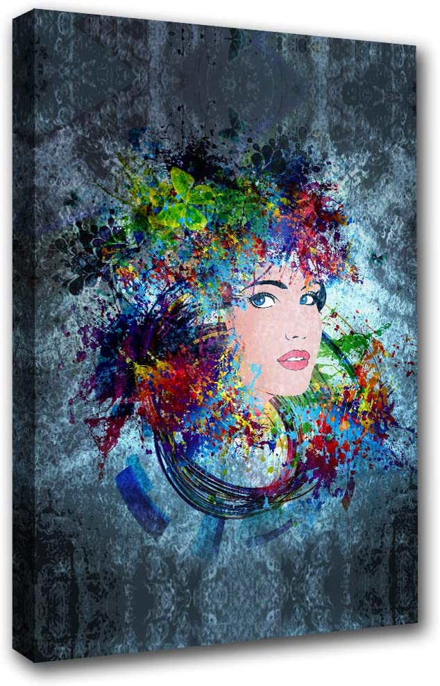 Canvas Art Wall Decor Paintings for Living Room African American Women Picture Abstract Modern Style Bedroom Bathroom 1 Panel Wall Art Home Decor Dream Artwork Giclee Framed Ready to Hang(16''Wx24''H)