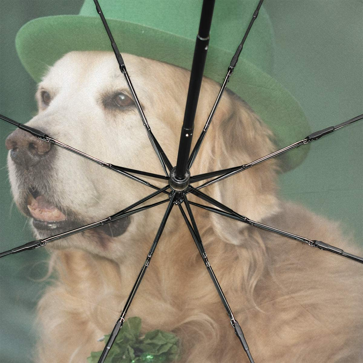 Large Windproof Umbrella Golden Retriever Saint Patricks Day Costume Portable Compact Folding Umbrella Anti Uv Protection Windproof Outdoor Travel Women Travel Umbrella Women