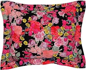 Roostery Pillow Sham, Floral Rose Garden Vintage Nature Modern Kitchen Print, 100% Cotton Sateen 30in x 30in Flange Sham