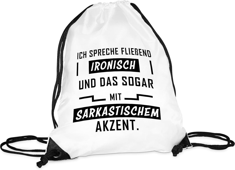 Tassendruck Stoffbeutel Fliessend ironisch//Turnbeutel//Sport-Bag//Gym-Bag//Lustig//Bedruckt mit Spruch//Rucksack//Witzig//Hipster Qualit/ät 25 Jahre Erfahrung