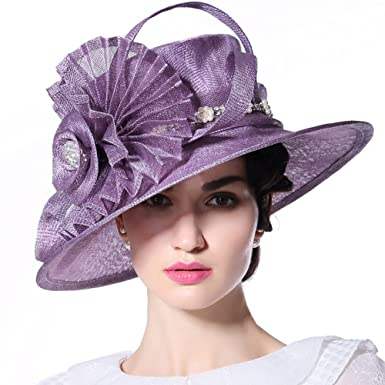 d99bbeb1669e1 June s Young Women Ladies Hats Fascinators for Church Derby Hat Wedding  Party Fedora Fashion Sinamay Sun Hat(Purple)  Amazon.co.uk  Clothing
