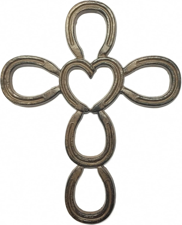 Horseshoe Heart Small Heart with Cross Horseshoe Art Western Decor