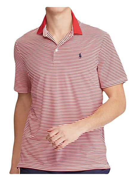 f8b39b3454b RALPH LAUREN Polo Men s Striped Stretch Active Fit Performance Short Sleeve  Polo Shirt (RL Red 2000 Pure White