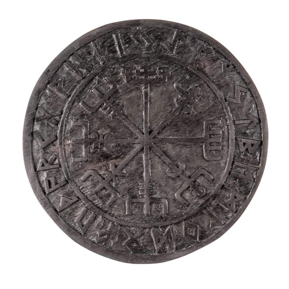 Wandschmuck Wandbild VEGVESIR Wikinger Kompass - Holz schwarz