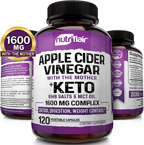 1600MG – Apple Cider Vinegar Capsules with Mother Keto Diet Pills BHB Salts with MCT Oil – 120 Veggie Capsules – Best Ketosis, Detox, Cleanse Supplement, ACV Keto Pills Support for Women and Men