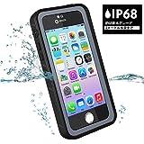 BESINPO iPhone/5/SE/5S 防水ケース 衝撃吸収 カバー 米軍MIL規格取得 多機能スマホケース フルボディケース 全面保護 ストラップホールあり IP68防水 指紋認識 防滴 防塵 耐衝撃 頑丈 ブラック