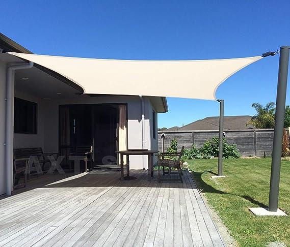 AXT SHADE Toldo Vela de Sombra Rectangular 2 x 3 m, protección Rayos UV y HDPE Transpirable para Patio, Exteriores, Jardín, Color Beige: Amazon.es: Jardín