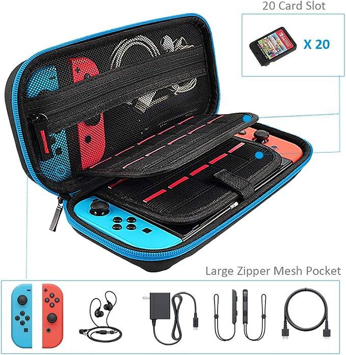 Funda de Transporte para Nintendo Switch + Protector de Pantalla de Cristal Templado, Bolsa Protectora (20 titulares de Tarjetas, Gran Capacidad, Cremallera Premium): Amazon.es: Electrónica