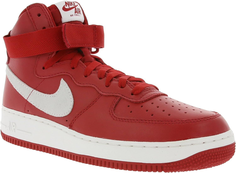 Nike Mens Air Force 1 HI Retro QS NAI Ke Gym 赤/Summit 白い Leather Size 11