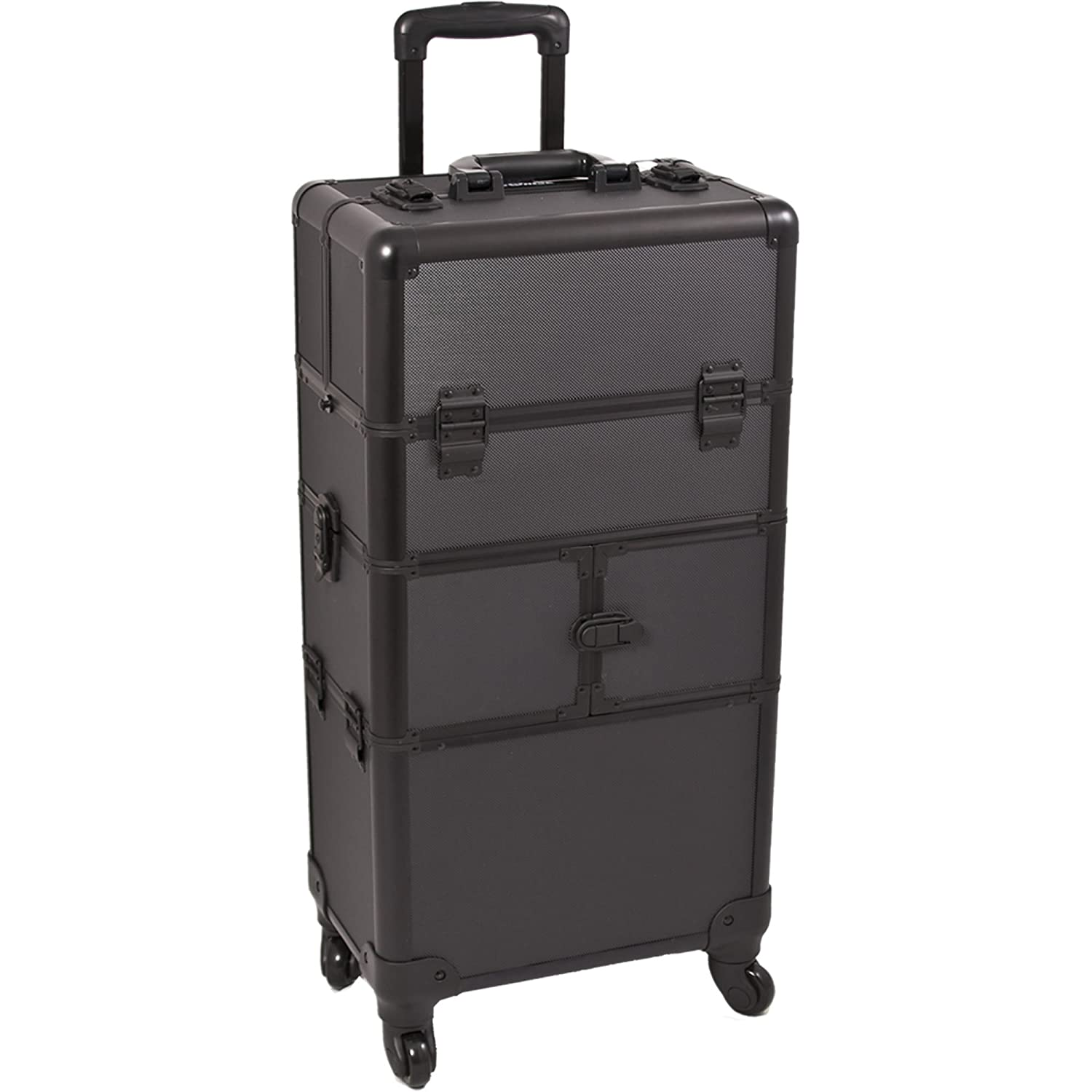 SUNRISE Makeup Case on Wheels 2 in 1 Hair Stylist I3564, 9 Trays with Brush Holder, 4 Wheel Spinner, Locking with 2 Mirrors and Shoulder Strap, Black Dot