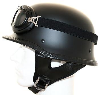 ATO - Casco para moto con gafas, diseño retro, color negro