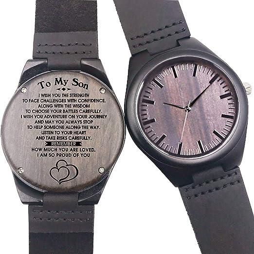 Relojes de Madera Personalizado, Moda Casual Clásico Hecho a Mano de Madera Relojes Regalo (