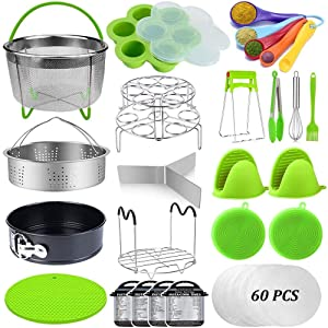 23 Pcs Pressure Cooker Accessories Set Compatible with Instant Pot Accessories 6 Qt 8 Quart, 2 Steamer Baskets, Springform Pan, Egg Rack, Egg Bites Mold, Steamer Rack Trivet, Parchment Papers & More