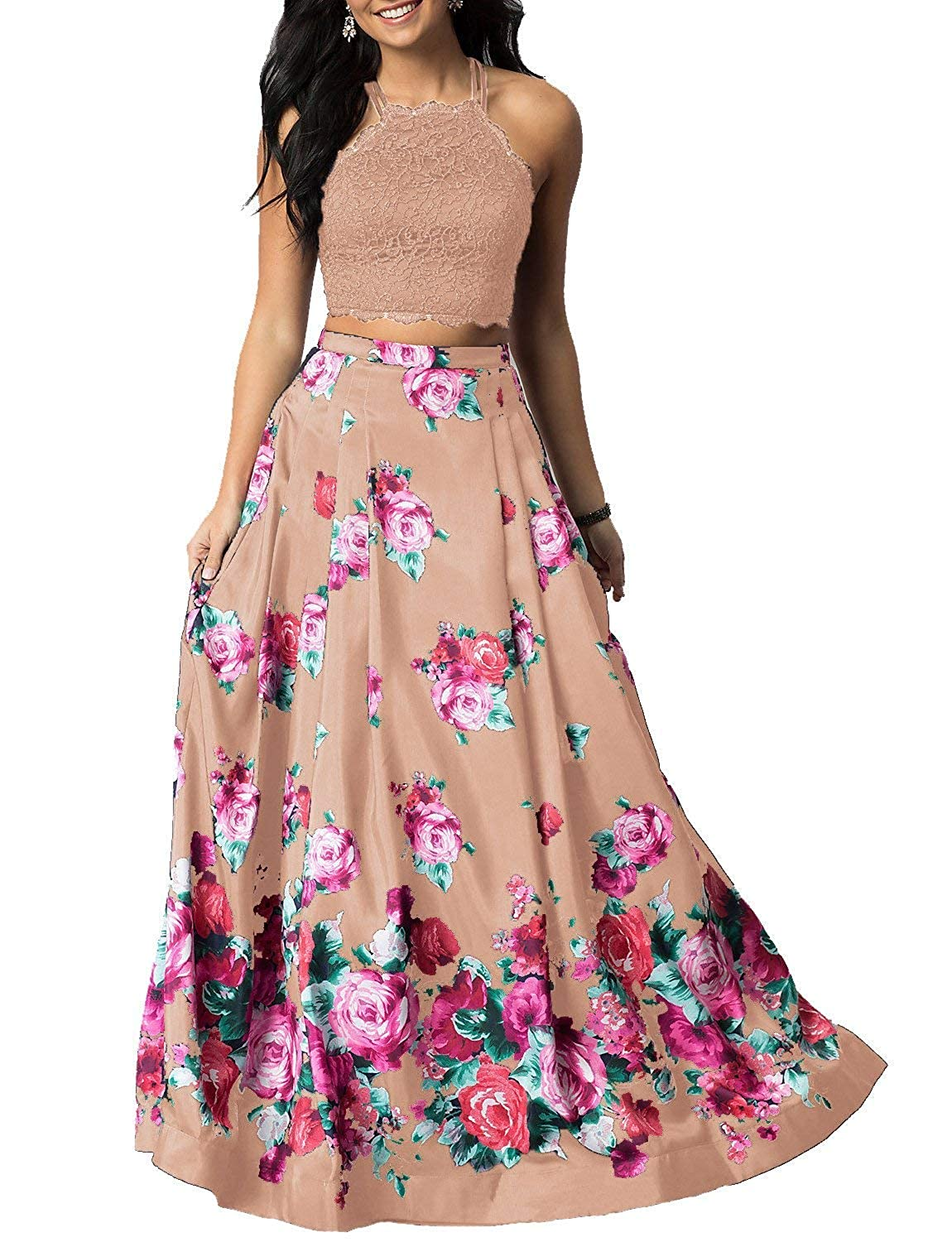 bluesh Sulidi Women's Halter Two Pieces Floral Printed Prom Dresses Long Satin Pleated Evening Formal Gown C095
