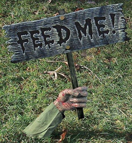 FunWorld Creepy Feed Me Warning From Below Sign Horror Halloween Yard Decoration