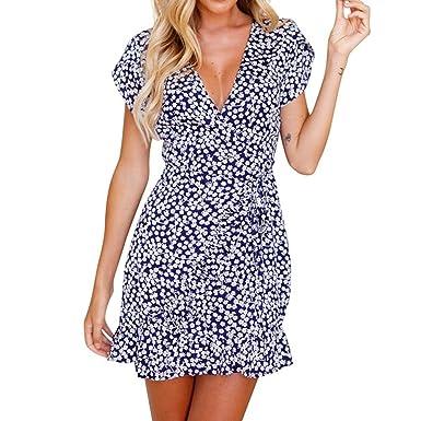4159a948a5e54 Ladies Abendkleid Rosennie Damen V-Ausschnitt Kurzarm Printed Minikleid  Sommer Frauen Elegant Vintage Blumendruck Partykleid