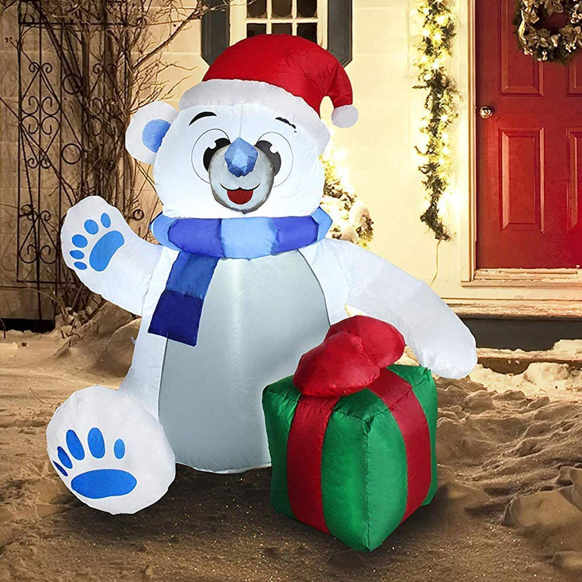 Joiedomi 4 ft Christmas Self Inflatable Polar Bear LED Light Up Giant Blow Up Yard Decoration for Xmas Holiday Indoor/Outdoor Garden Party Favor Supplies Décor.