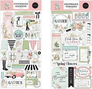 "Carta Bella Paper Collection Bundle: Flower Garden 6"" x 13"" Sheet of Chipboard Accents + Flower Garden 6"" x 13"" Sheet of Chipboard Phrases"