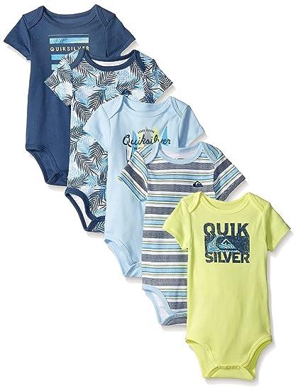 Amazon.com: Quiksilver Baby-Boys Newborn 5 Pack Bodysuits Blue ...