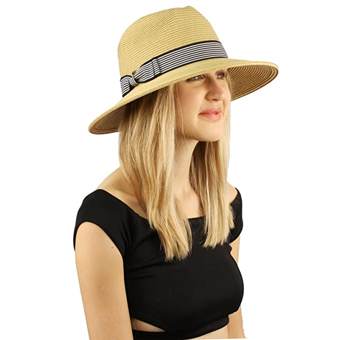 a57d87ff921 Summer Light Striped Crushable Fedora Panama Derby Beach Pool Sun Wide Hat  Natural