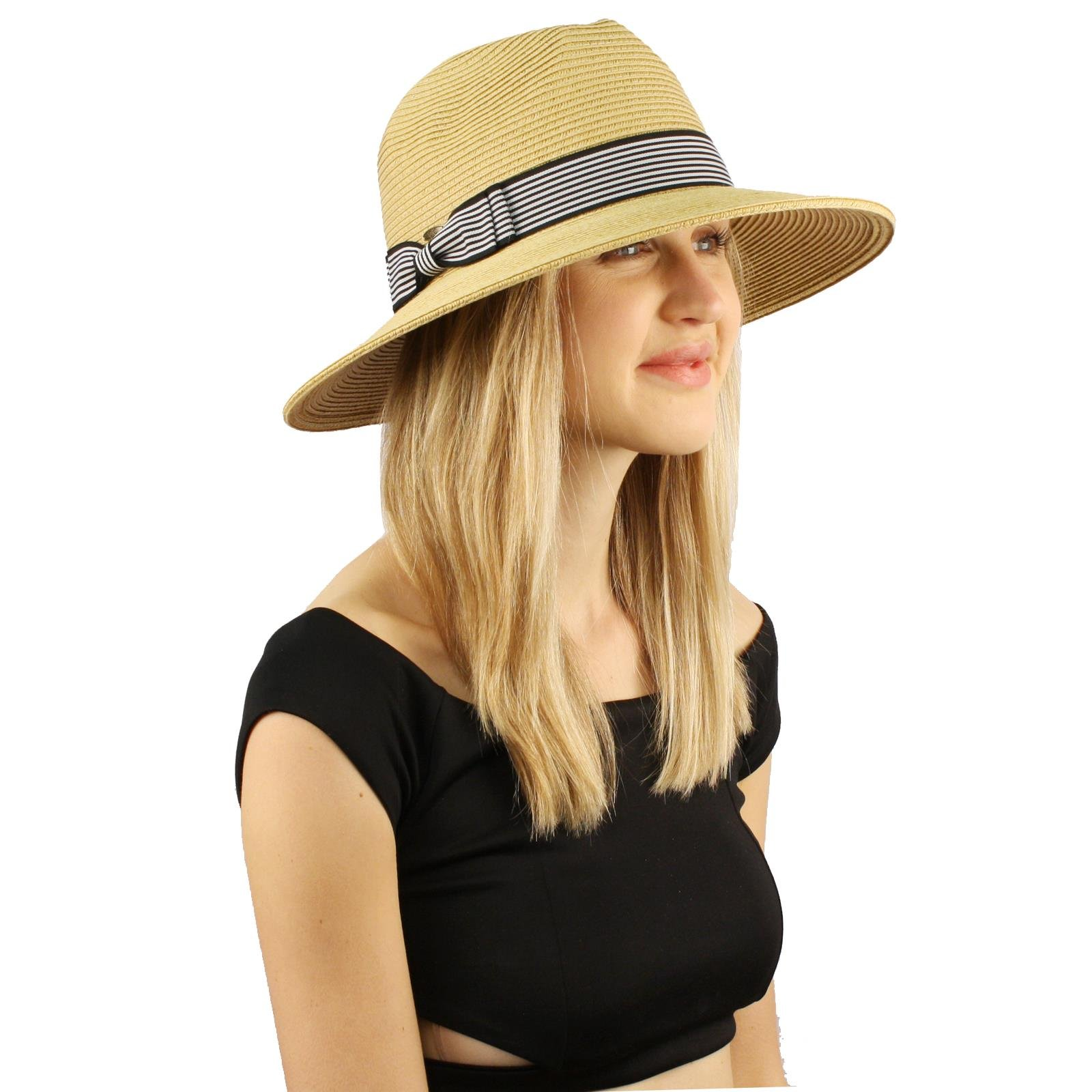 Summer Light Striped Crushable Fedora Panama Derby Beach Pool Sun Wide Hat Natural