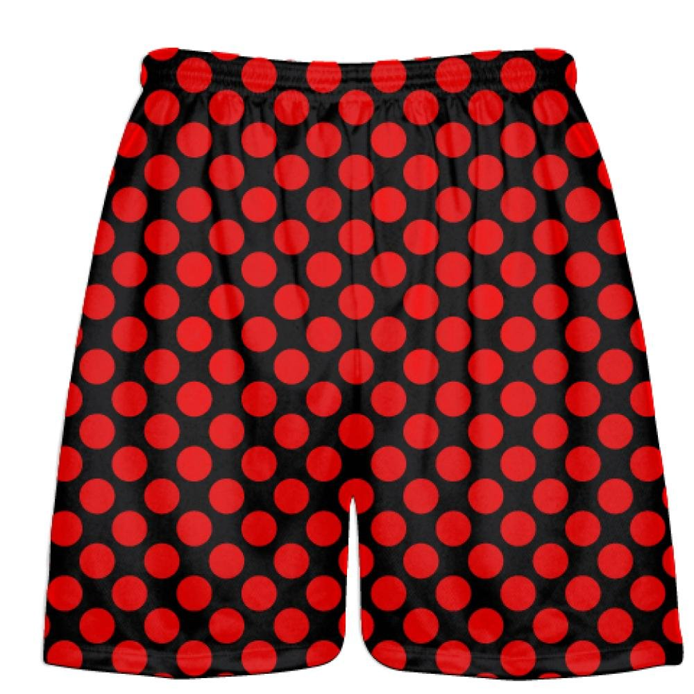 Youth Black Red Polka Dots Lacrosse Shorts Boys Lacrosse Short Black Mens Shorts Youth