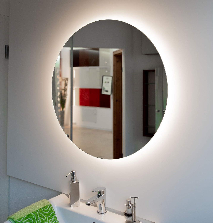 60 /Ø cm, LED Neutral Badspiegel Rund mit LED Beleuchtung Touch Schalter Optional Runder Wandspiegel mit indirekte Beleuchtung Forte Moon