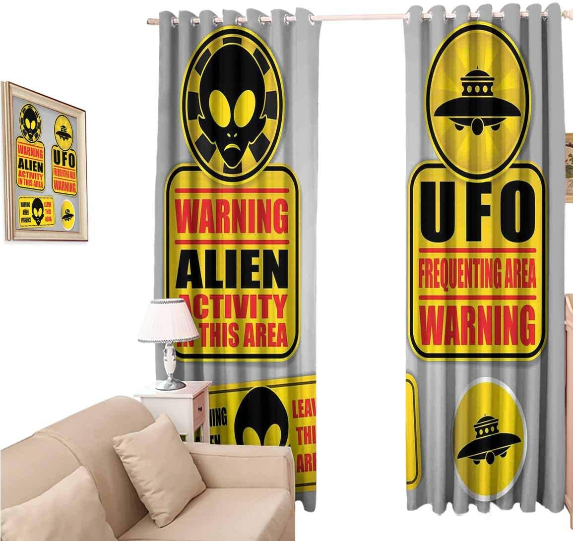 Decorative Blackout Curtains, Outer Space Warning Alien UFO Sign Face of Martian Creature Danger Horror, Curtain Panels for Living Room, 96x84 inch