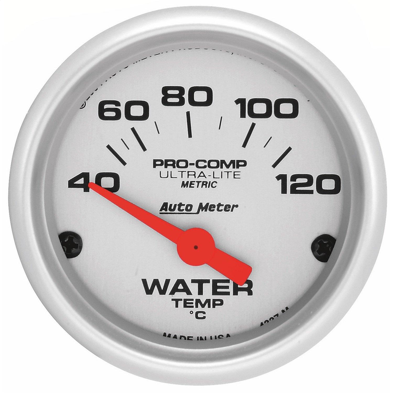 Auto Meter Ultra-Lite Analog Gauges Gauge, Ultra-Lite, Metric Water Temperature, 40-120 Degrees C, 2 1/ 16 in., Analog, Electrical, Each Autometer