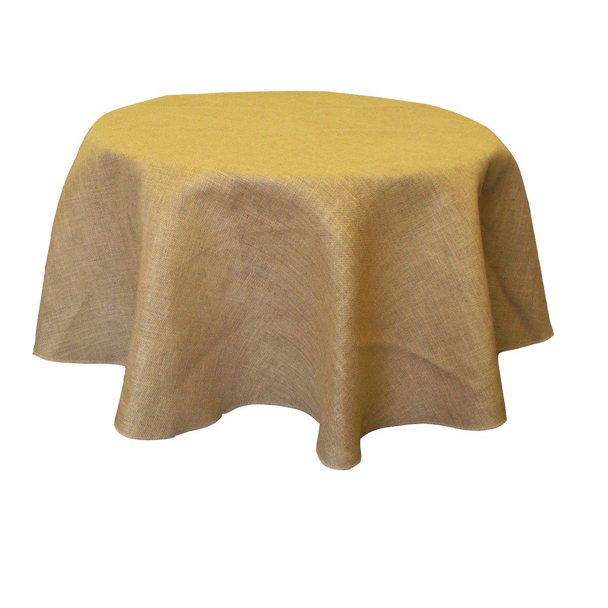 Burlap Round Table Overlays Amazoncom La Linen 58 Inch Round Jute Burlap Table Overlay