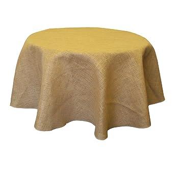 LA Linen Natural Burlap Tablecloth, Round, 56 Inch
