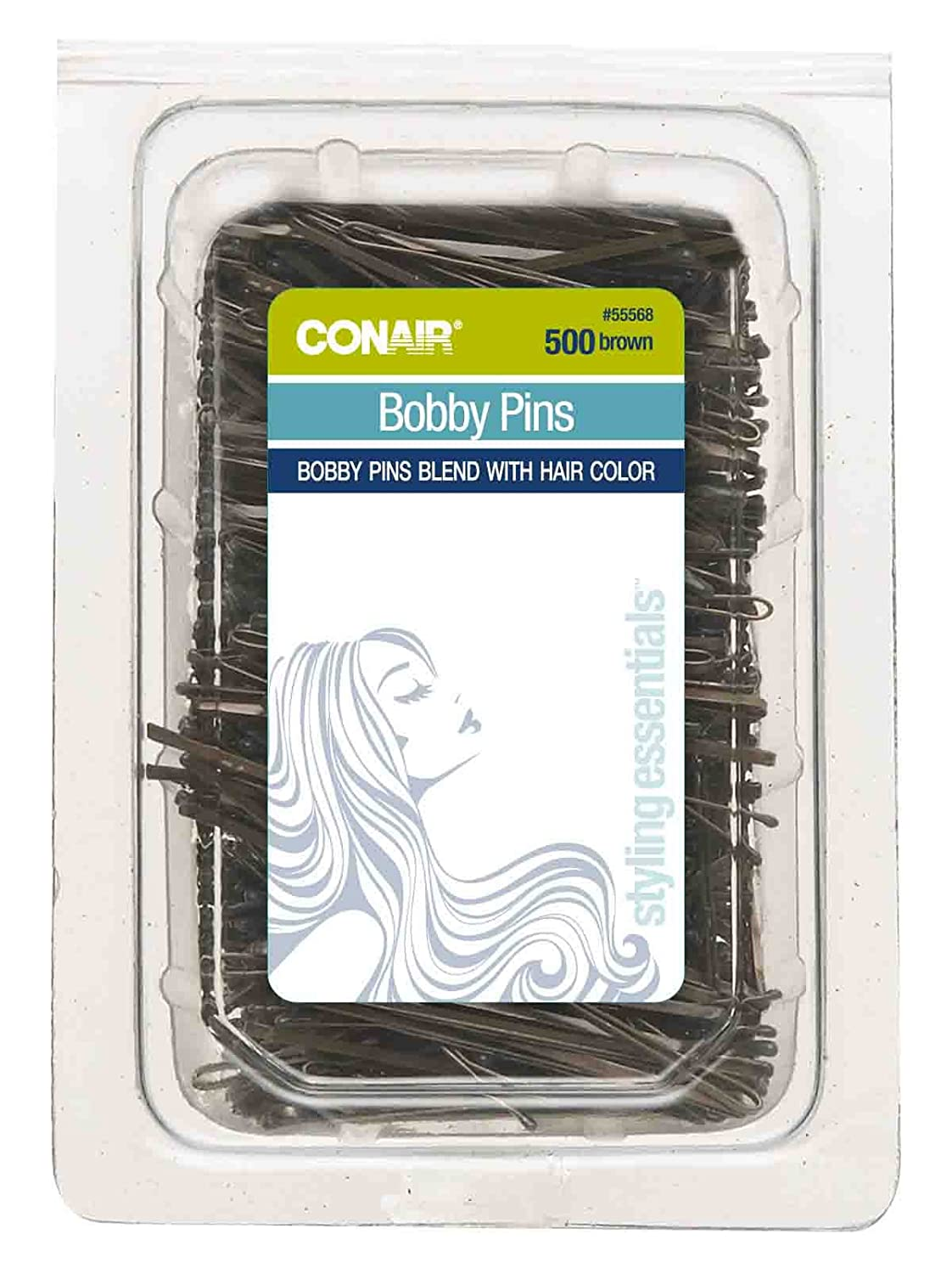 Conair Secure Hold Bobby Pins, Brown, Tub of 500 Hairpins