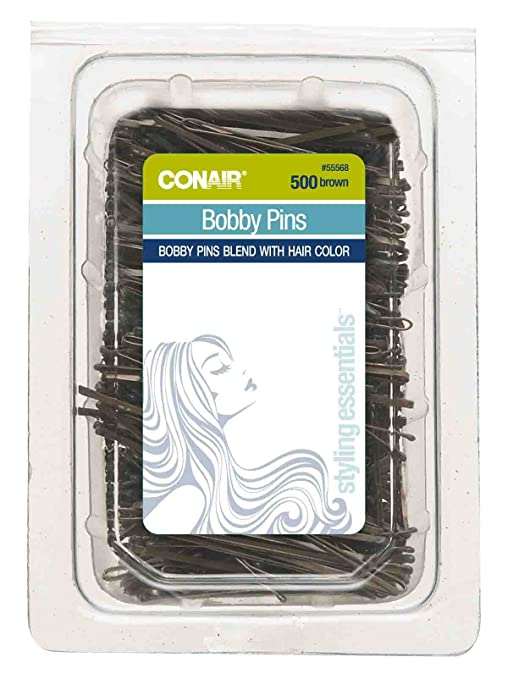 Conair Bobby Pins In Tub, Brown, 500 Pack