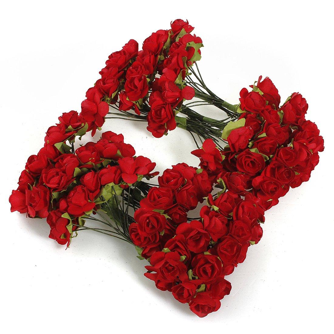 KINGSO Bouquet Lot 144 Rose Artificielle Fleur En Papier D/écoration Maison Mariage Bapt/ême Jardin Rouge
