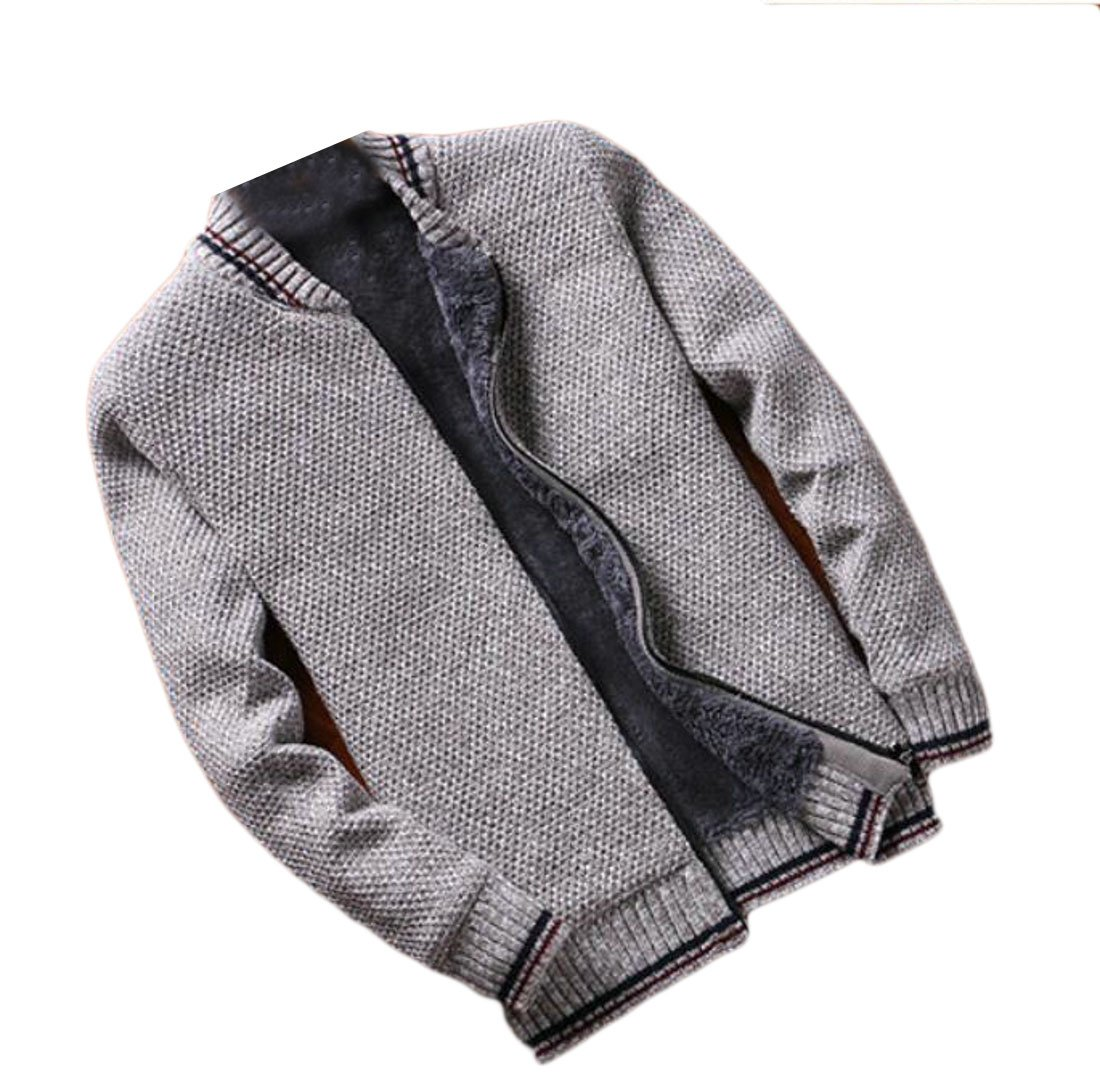 FLCH+YIGE Mens Stylish Warm Thicken Cardigan Colorblock Zipper Front Sweater Coat