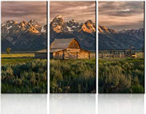 National Parks Pictures Country Paintings for Wall Moulton Barn Wall Art Nature Scene Artwork 3 Panel Canvas Native American Home Decorations for Living Room Wooden Framed Ready to Hang(40''x60'')