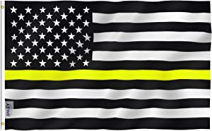 ANLEY Fly Breeze 3x5 Foot Thin Gold Line USA Polyester Flag - Vivid Color and Fade Proof - American Honoring 911 Operators, Police Dispatchers Flags with Brass Grommets 3 X 5 Ft