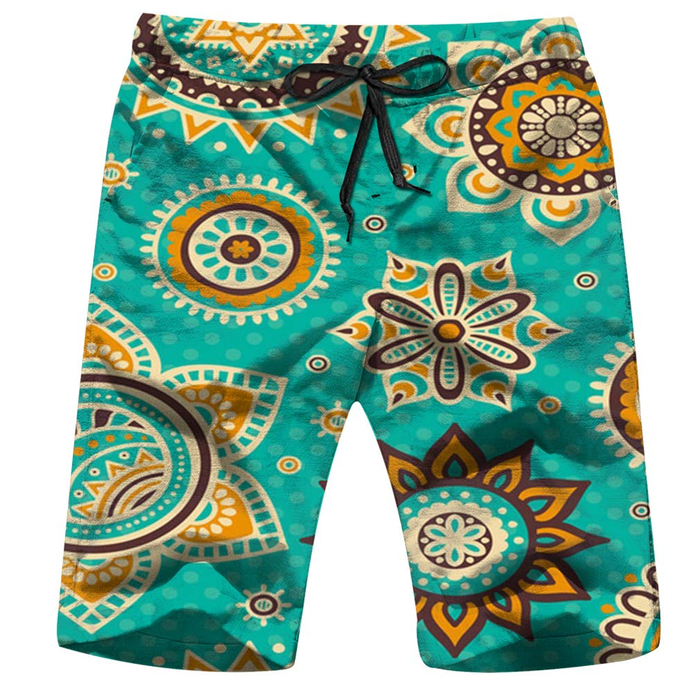 Anchor Symbols Set Isolated on White Objects Signs Mens Drawstring Elastic Waist Surfing Beach Board Shorts with Pockets