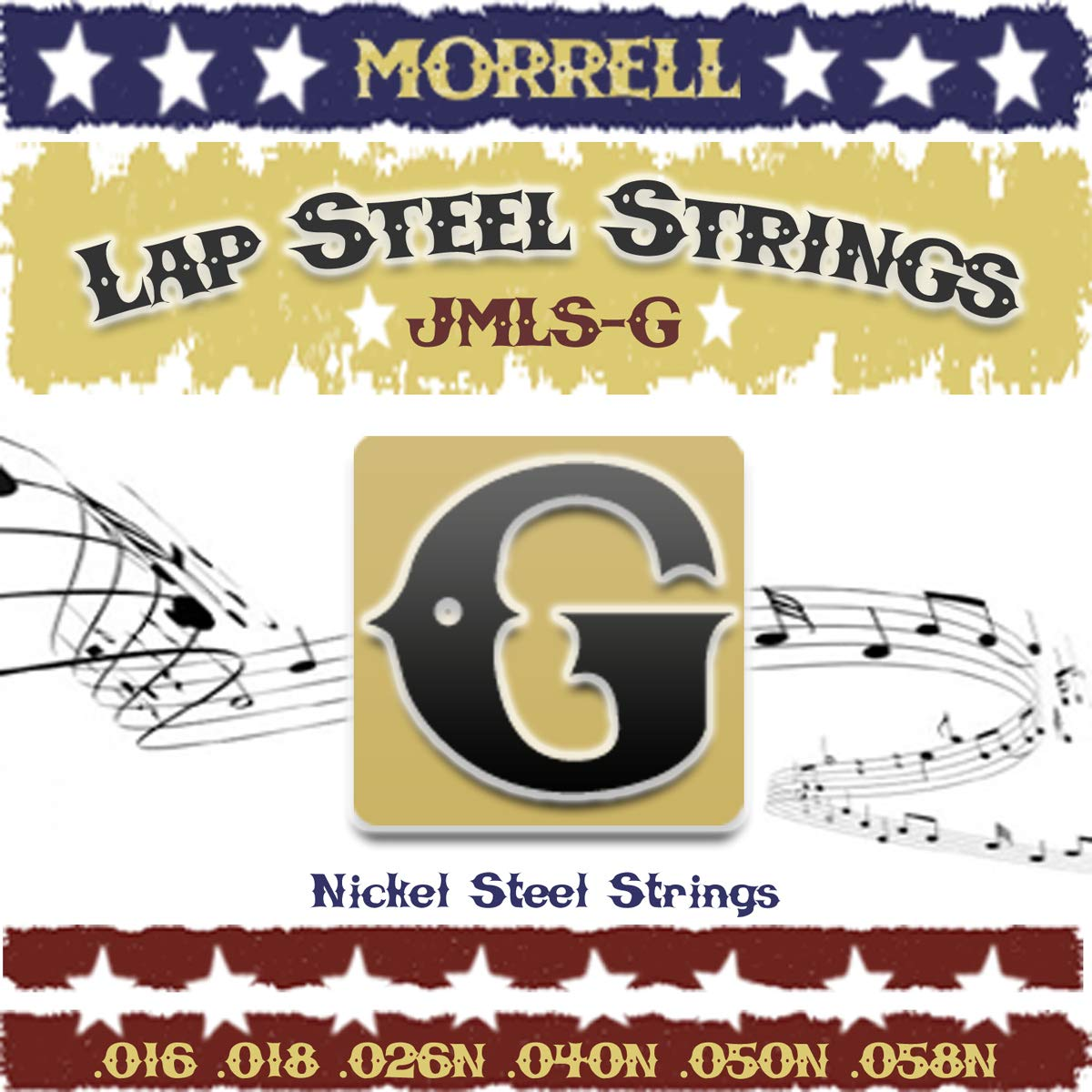 Morrell JMLSG Premium 6-String Lap Steel Guitar Strings for G Tuning 16-58 (3-Pack) by Morrell