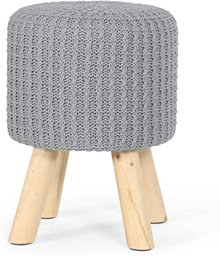 Furnistar 12 Modern Design Organic Textile Small Round Ottoman Foot Rest Stool for Vanity Makeup Table Grey