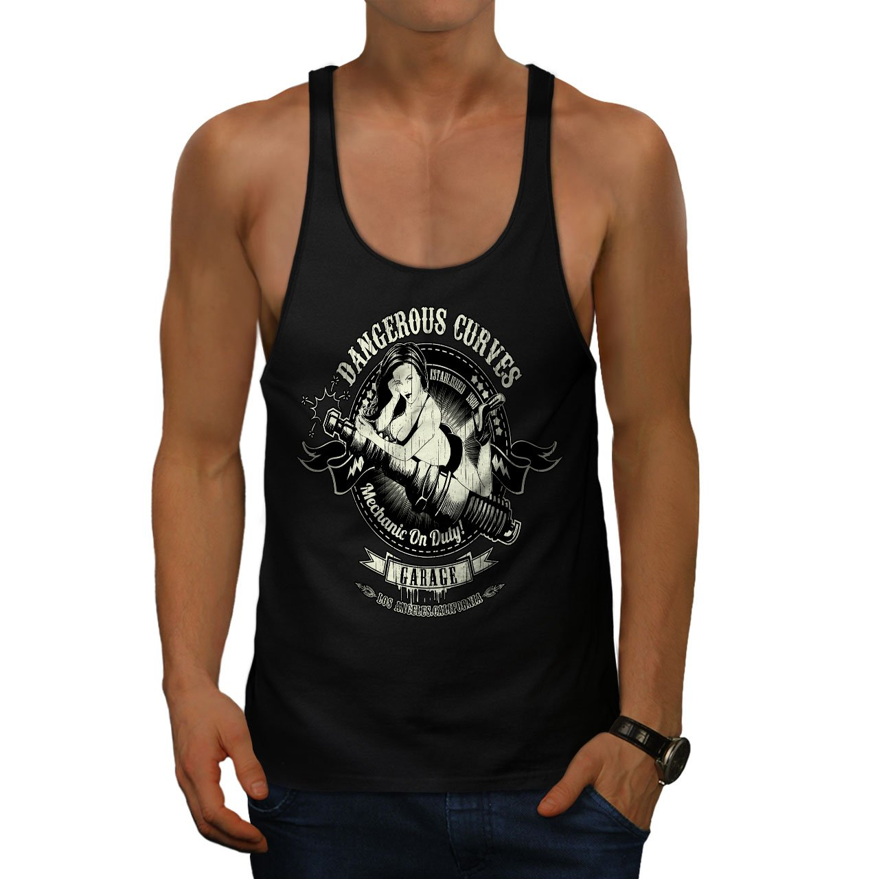 Amazon.com: wellcoda dangerous curves biker mens gym tank top