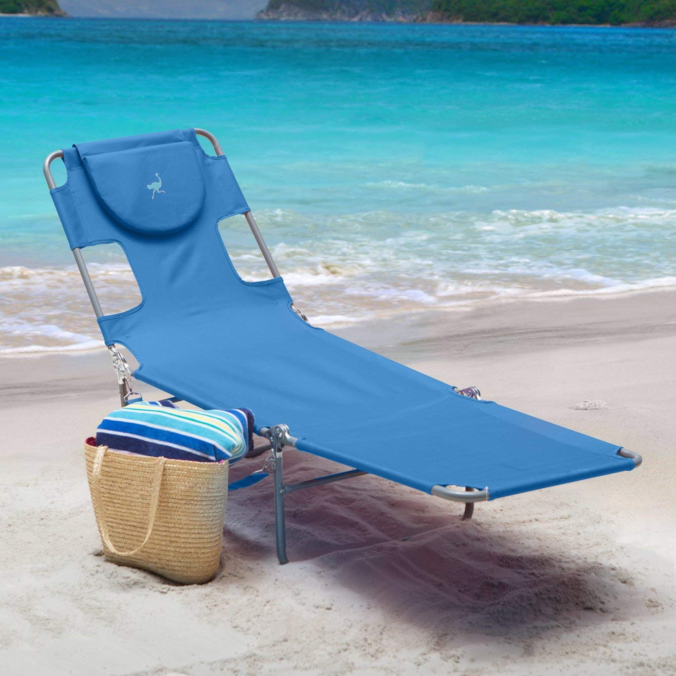 Ostrich Folding Chaise Lounge 72L x 22W x 12H in, 10 to 12 lbs. Weight Capacity 250 lbs (Blue) by Ostrich