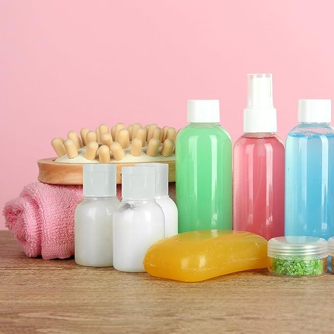 6 Piezas Botella de Viaje de Plástico Botella Transparente de Vuelo con Embudo Pequeño para Vuelo, Aeropuerto, Vacaciones (50 ML): Amazon.es: Belleza