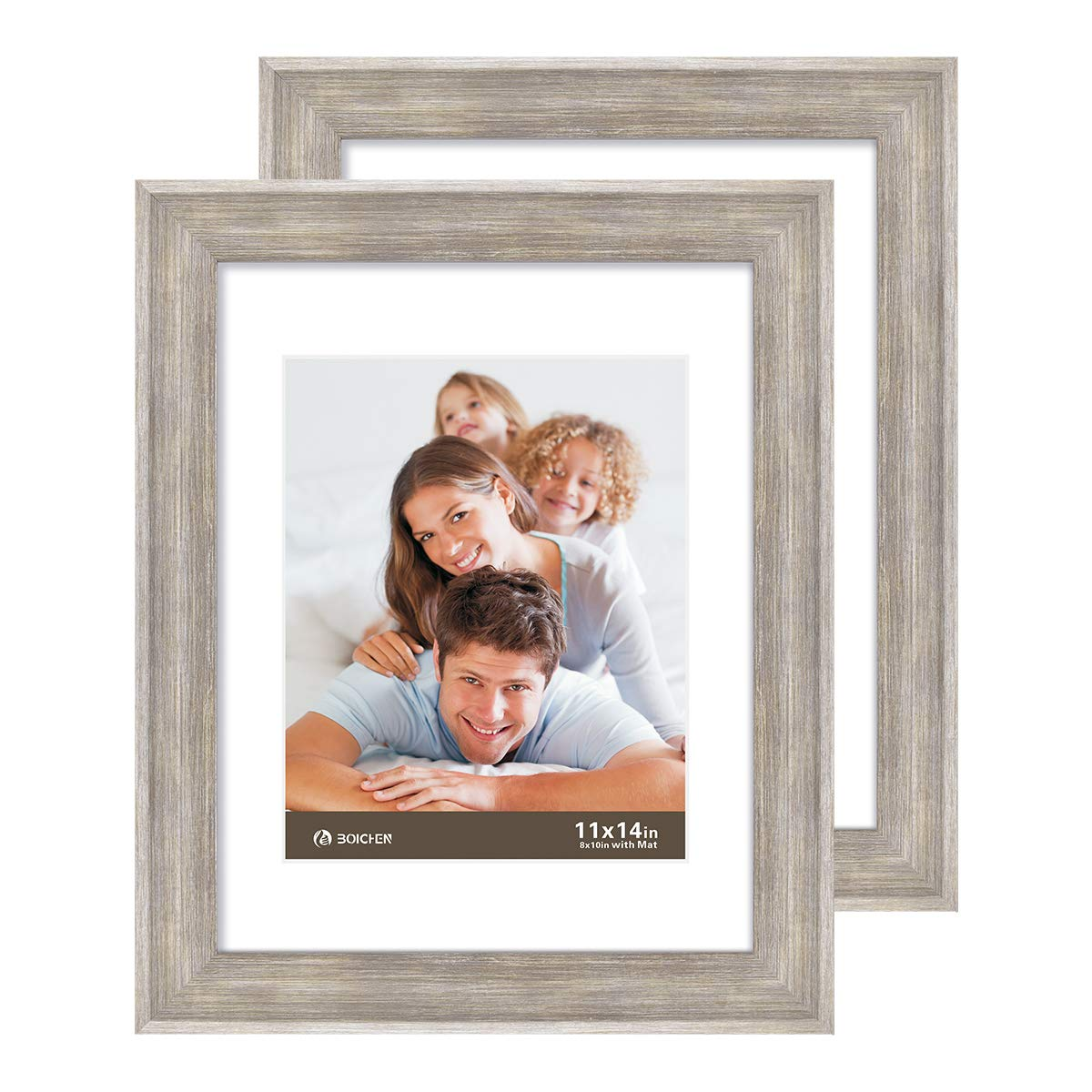 Boichen 11X14 Picture Frames 2 Pack Rustic Style Wood Pattern High Definition Glass for Tabletop Display and Wall mounting Photo Frame Silver Grey Wood by Boichen