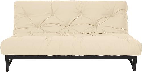 Mozaic Queen Size 8-inch Cotton Twill Gel Memory Foam Futon Mattress, Ivory