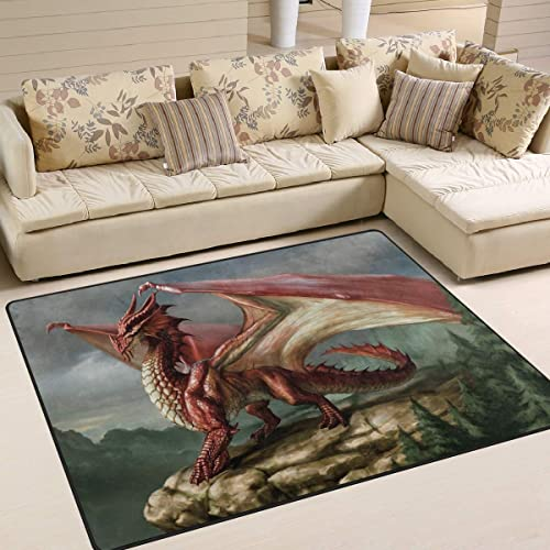 Red Fantasy Dragon Area Rug 5'x 7'