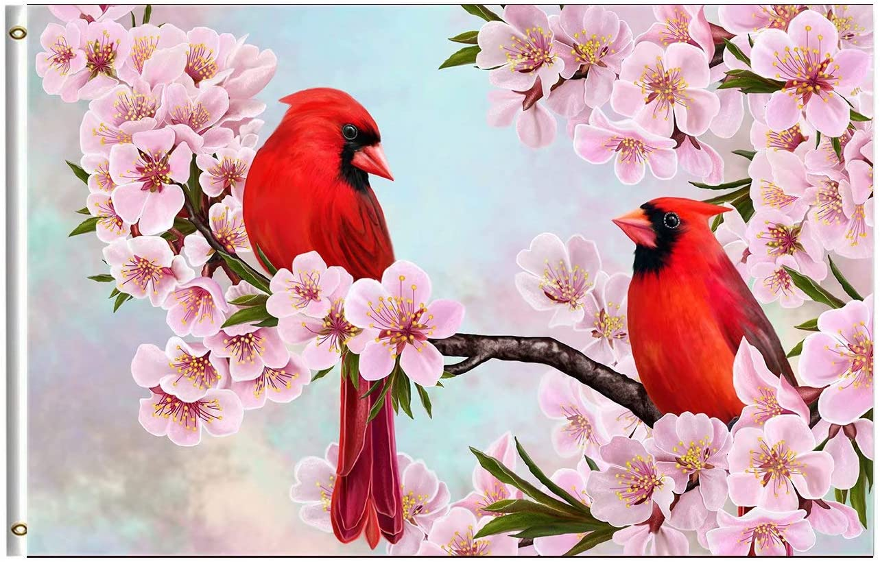 Wamika Spring Sunmer Bird Flag 3x5 FT Red Cardinal Branch Almonds Blossom Flowers Garden Yard House Flags Season Greeting Banner with Brass Grommets Indoor Outdoor Party Home Decorations