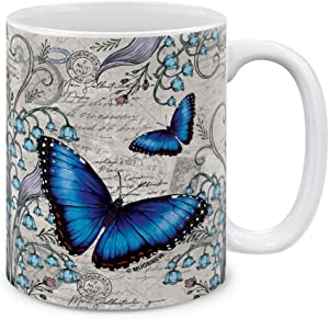 MUGBREW Vintage Vintage Blue Morpho Butterfly Ceramic Coffee Mug Tea Cup, 11 OZ